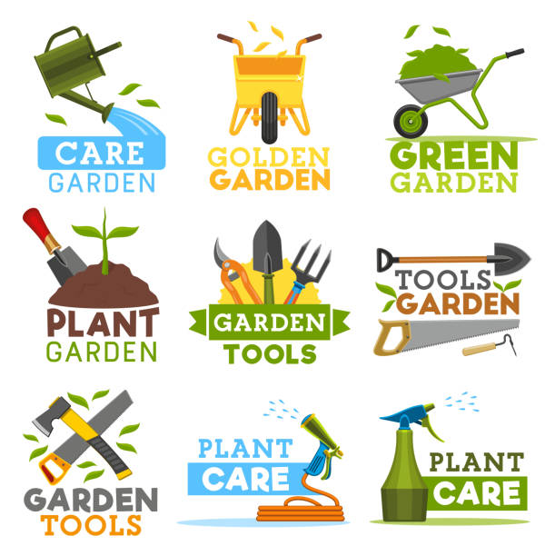 Farm gardening and planting tools, vector icons Gardening and farming icons, farmer tools. Vector garden plants, watering can and wheelbarrow with green leaf, spade shovel and rake or saw with hack hoe. Gardener agriculture garden hoe stock illustrations