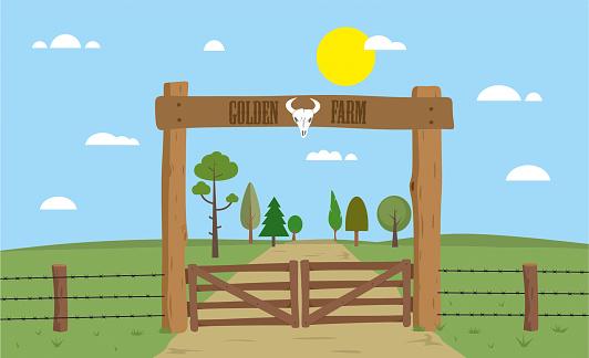 Farm gate stock illustration