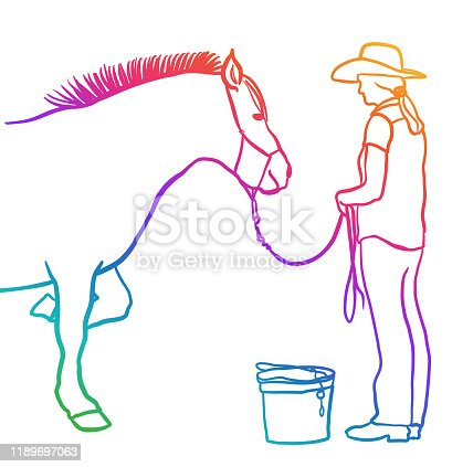 istock Farm Girl And Horse Rainbow 1189697063