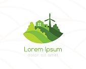 Farm green landscape and house emblem.