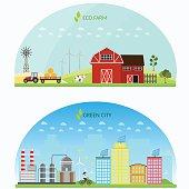 Farm green vector set