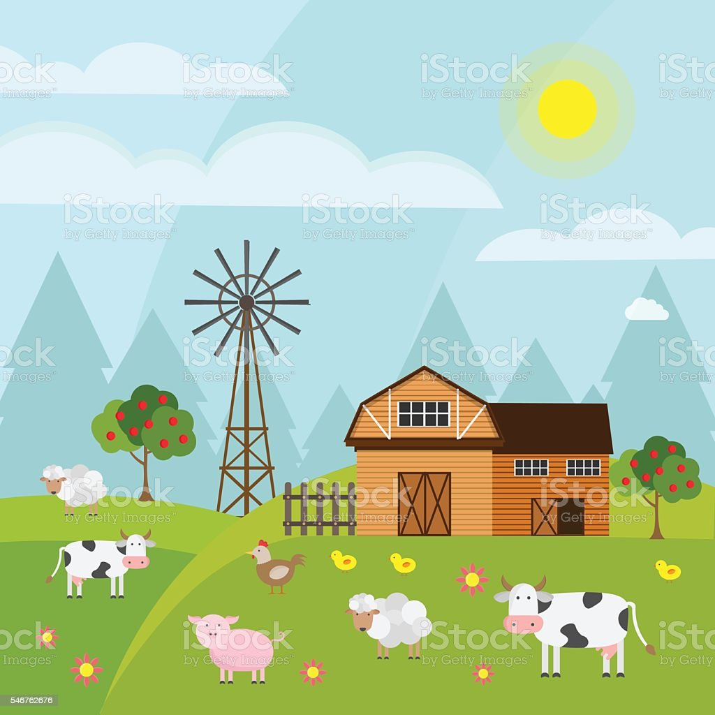 Farm green vector set vector art illustration