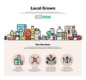Farm grown food flat line web graphics