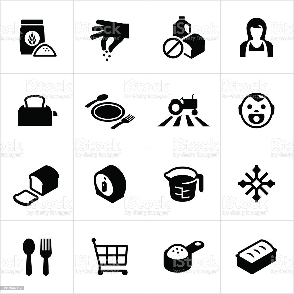 Farm Grown Food Icons vector art illustration