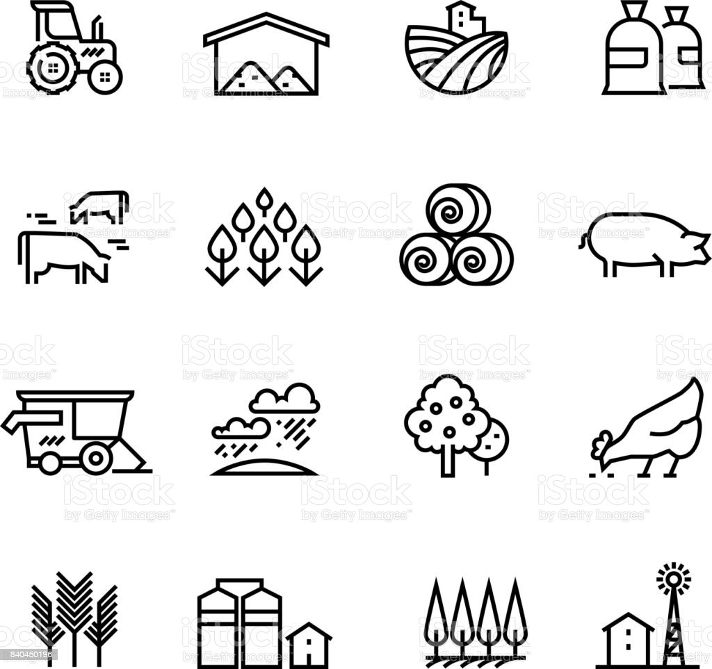 Farm harvest linear vector icons. Agronomy and farming pictograms. Agricultural symbols vector art illustration