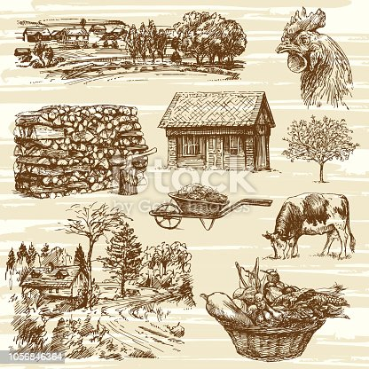 Farm, harvest, rural landscape, hand drawn set