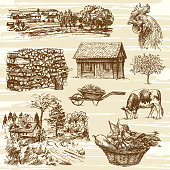 Farm, harvest, rural landscape, hand drawn set