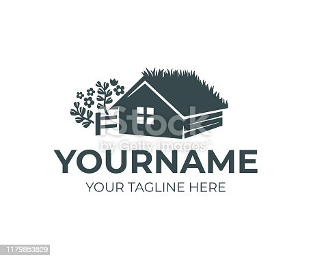 Farm home with grass on roof or green roof, fence and herbs, design. House or home rustic, rural scene and countryside, vector design and illustration