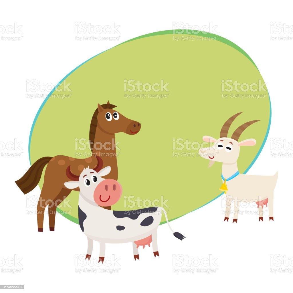 Farm Horse Cow And Goat Grazing Upon The Green Pasture stock vector ...