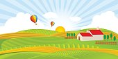 Farm House and Field with Hot Air Balloons