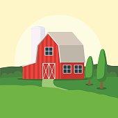 Farm house and rural landscape