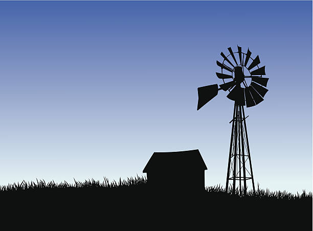 Farm house and windmill silhouette. vector art illustration