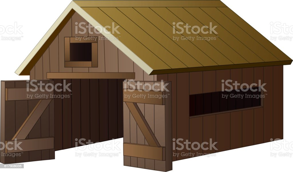 Farm house cartoon vector art illustration