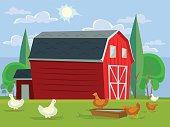 Farm house field and chicken. Vector flat cartoon illustration
