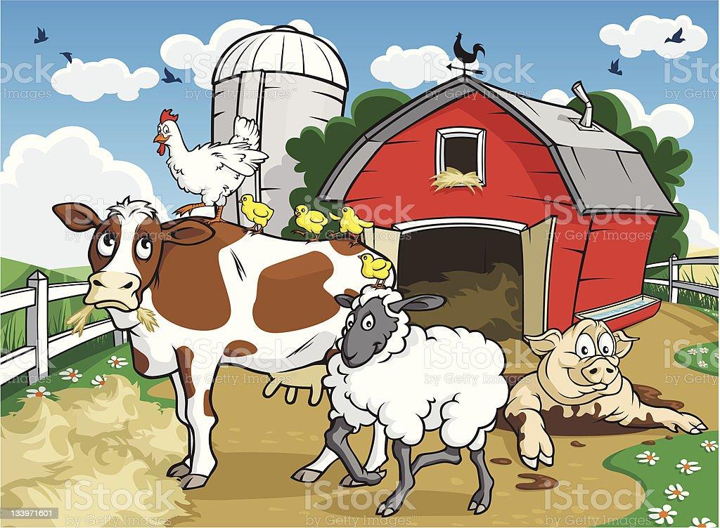 Farm House Gang royalty-free stock vector art