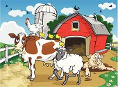 Detailed Vector Illustration of cute animals on a farm. File saved in layers for easy editing. Zoom in for details.