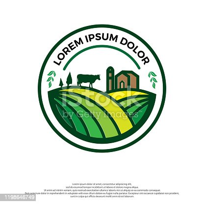 Farm House concept logo. Template with farm landscape. Label for natural farm products. colorful logo in white background.