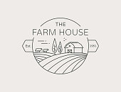 Farm House outline symbol isolated on white background. Vector line emblem with farmhouse, cows and fields for natural farm products.