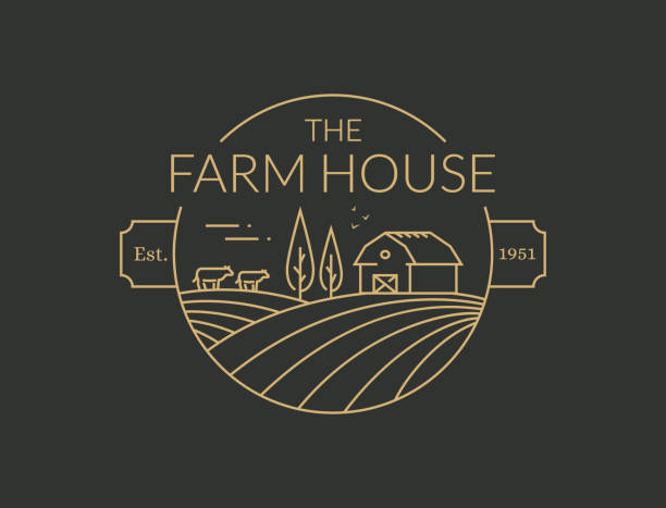 Farm House outline symbol. Vector line emblem. Farm House outline badge isolated on black background. Vector line emblem with farmhouse, cows and fields for natural farm products. agricultural fair stock illustrations