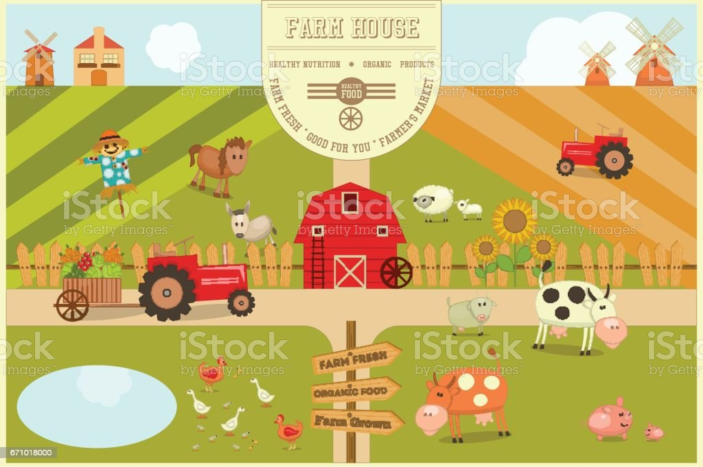 Farm House Poster vector art illustration