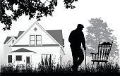Silhouette vector illustration of an old man outdoors in front of his house under a tree and walking towards a rocking chair