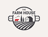 Farm House symbol isolated on white background. Black and red emblem with farmhouse, cow and fields for natural farm products. Vector illustration.