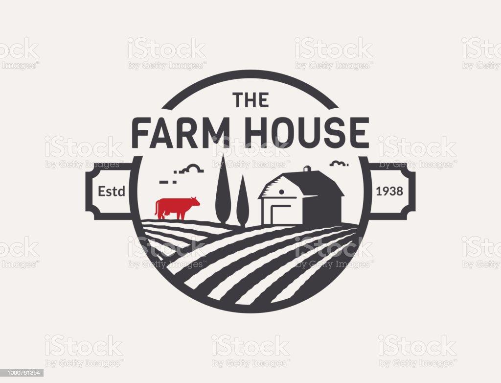 ファーム ハウスのベクトル紋章。 ベクターアートイラスト
