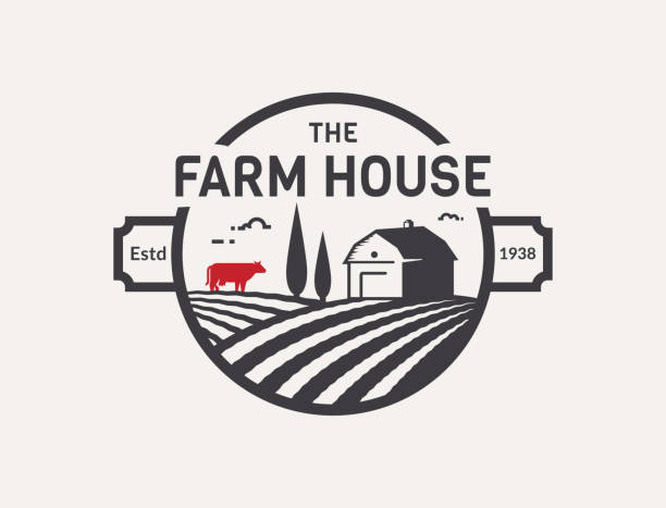 Farm House vector emblem. Farm House symbol isolated on white background. Black and red emblem with farmhouse, cow and fields for natural farm products. Vector illustration. agricultural fair stock illustrations