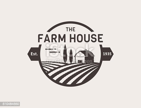 Farm House concept. Template with farm landscape. Label for natural farm products. Black isolated on white background. Vector illustration..
