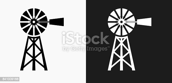 Farm Icon on Black and White Vector Backgrounds. This vector illustration includes two variations of the icon one in black on a light background on the left and another version in white on a dark background positioned on the right. The vector icon is simple yet elegant and can be used in a variety of ways including website or mobile application icon. This royalty free image is 100% vector based and all design elements can be scaled to any size.