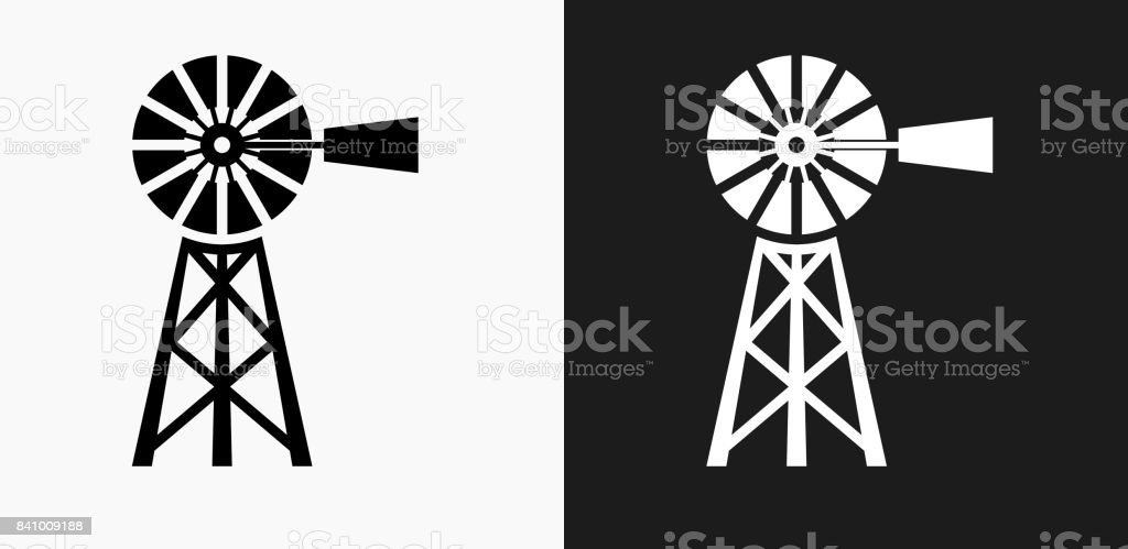 Farm Icon on Black and White Vector Backgrounds vector art illustration