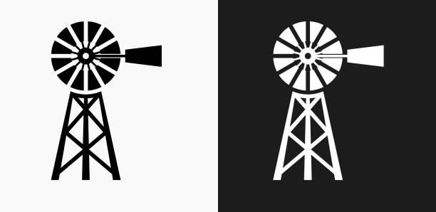 흑인과 백인 벡터 배경에서 농장 아이콘 - 풍차 stock illustrations