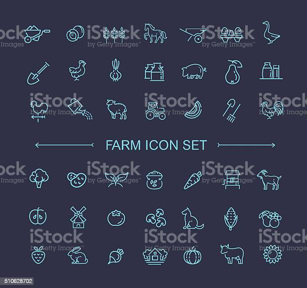 Farm icon set simple and thin line design vector id510628702?b=1&k=6&m=510628702&s=612x612&h=av4ltznszz4e0fnkc7 gr iyfeegzje5zsuwlbzhp9m=
