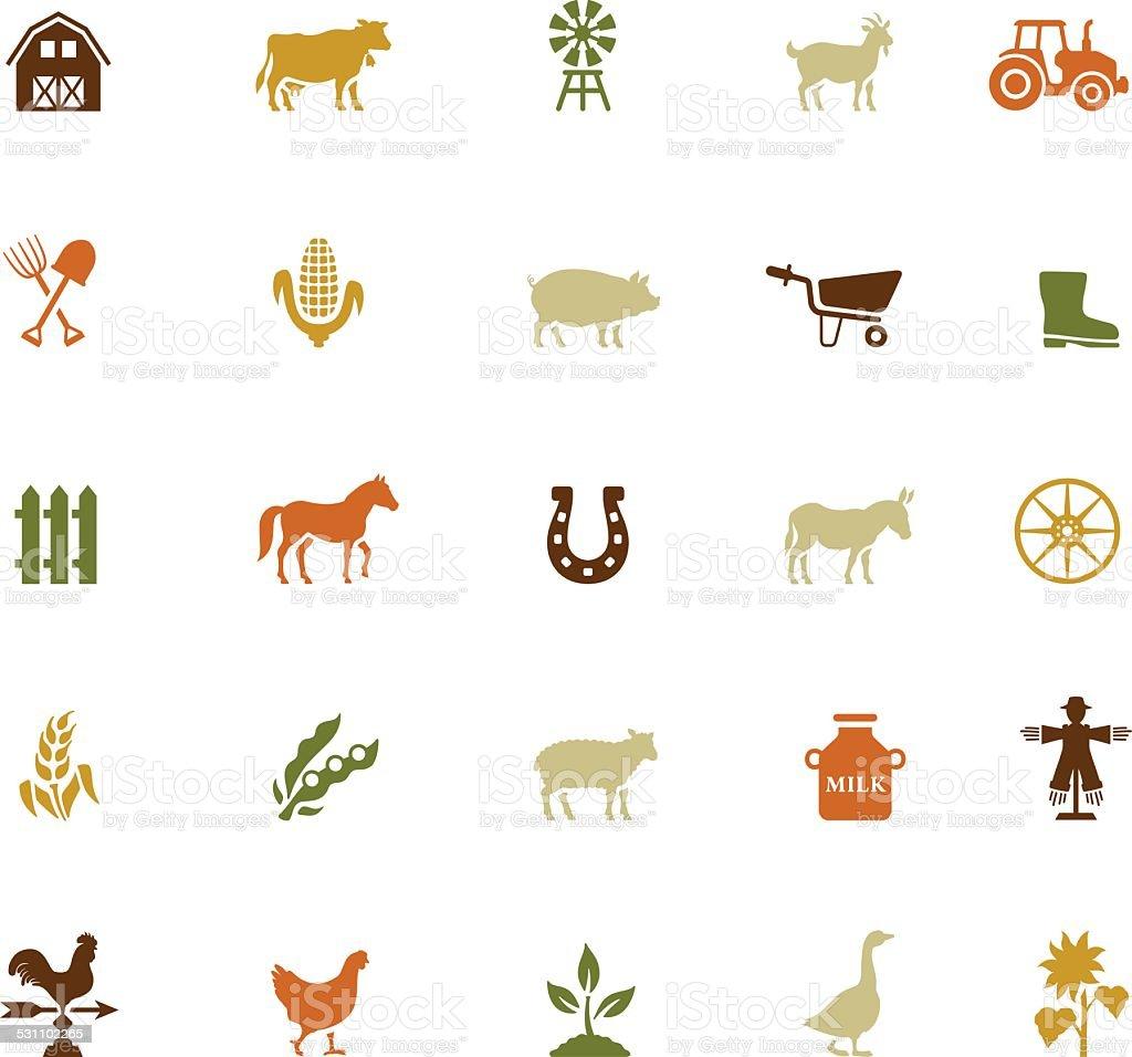 Farm Icon Set vector art illustration