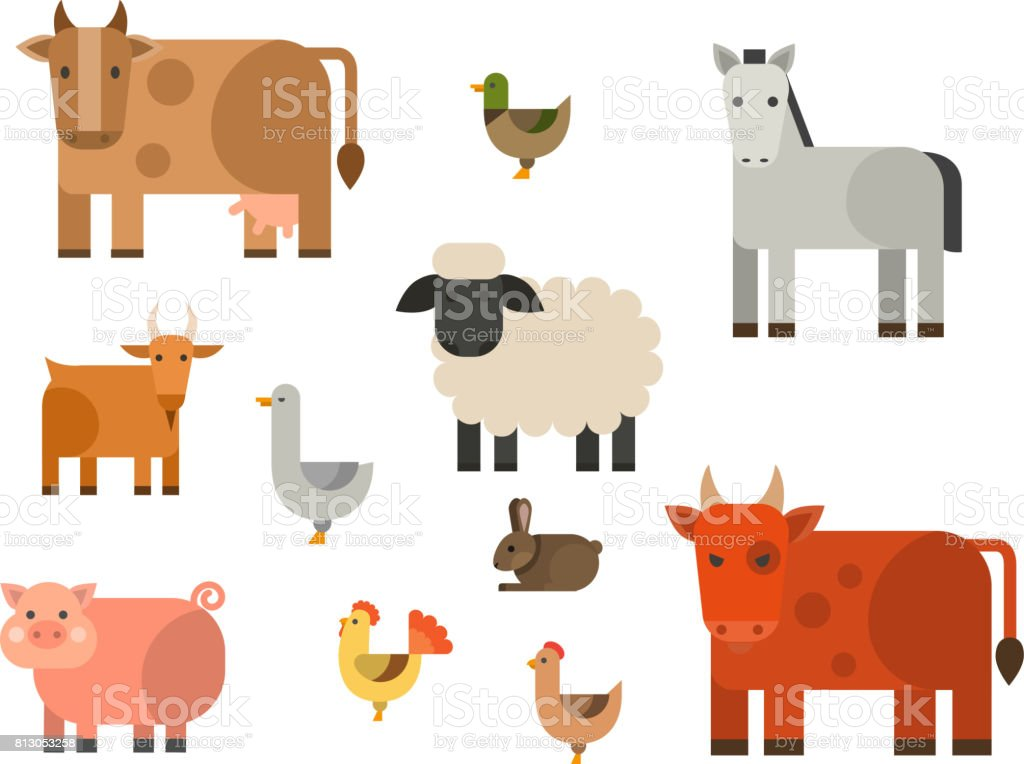 Alimento finca icono vector ilustración naturaleza caracteres de diferentes animales de agricultura de grano la cosecha - ilustración de arte vectorial