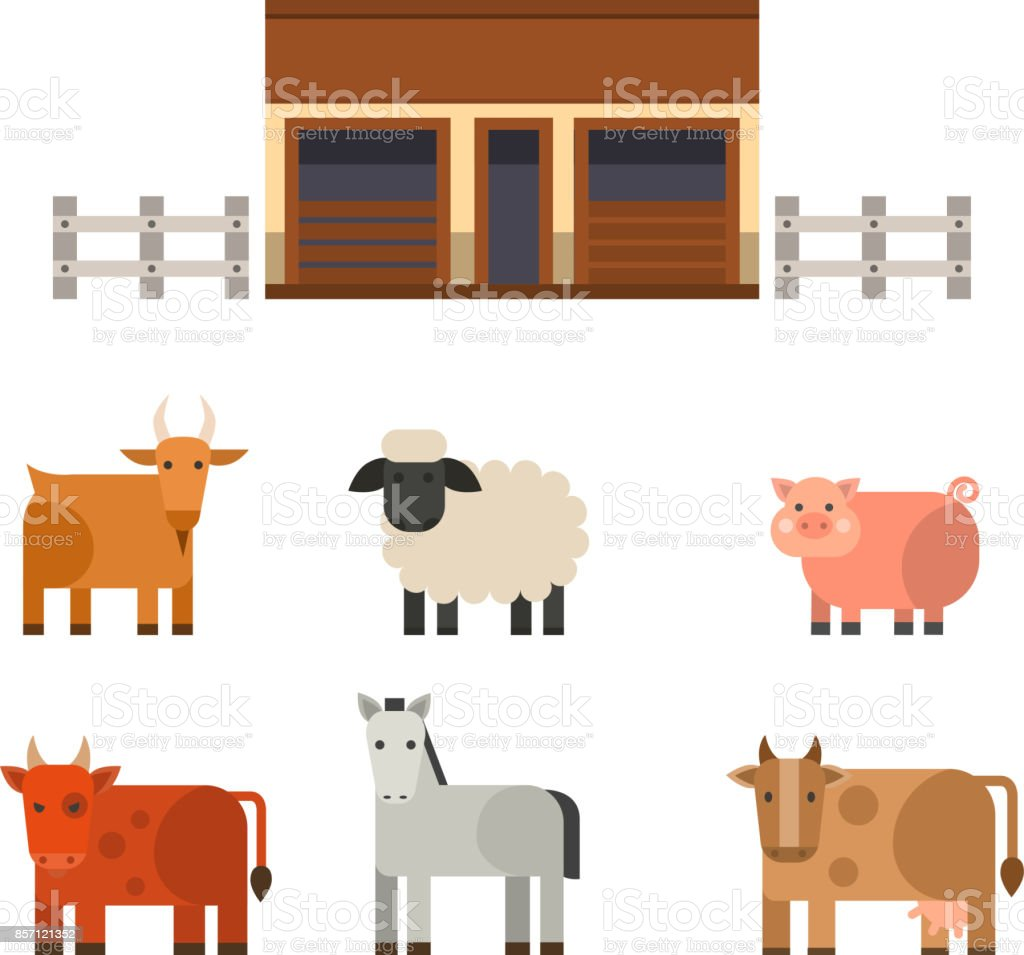 Farm icon vector illustration nature food harvesting grain agriculture different animals characters vector art illustration