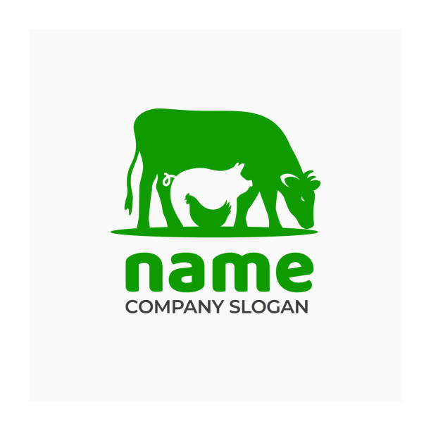 Farm icon with cow, pig and chicken. Sign for agricultural company Green symbol for farm products. Vector illustration of farm animals poultry stock illustrations