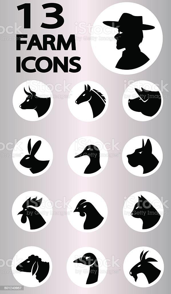 farm icons collection vector art illustration