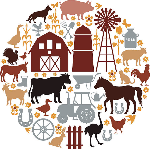 Farm Icons Composition vector art illustration