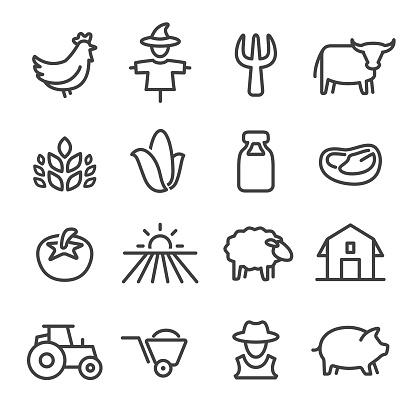 Boerderij Icons Line Serie Stockvectorkunst en meer beelden van Biologisch