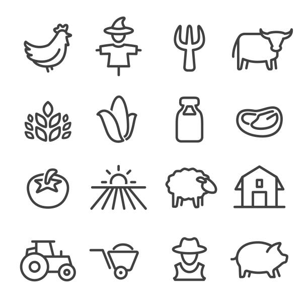 stockillustraties, clipart, cartoons en iconen met boerderij icons - line serie - pig farm