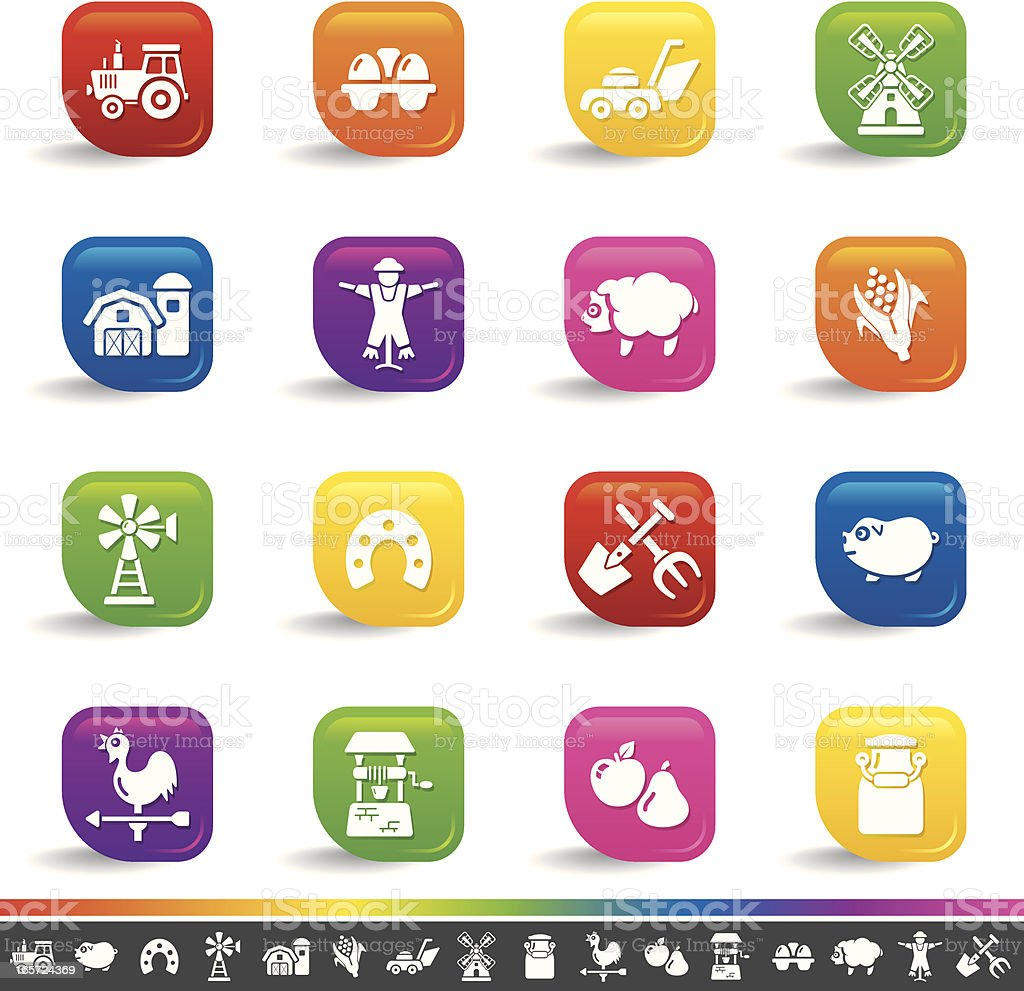 Farm icons | Rainbow Series royalty-free stock vector art