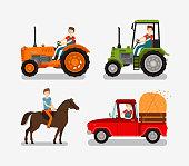 Farm icons set. Cartoon symbols such as tractor, truck, horse