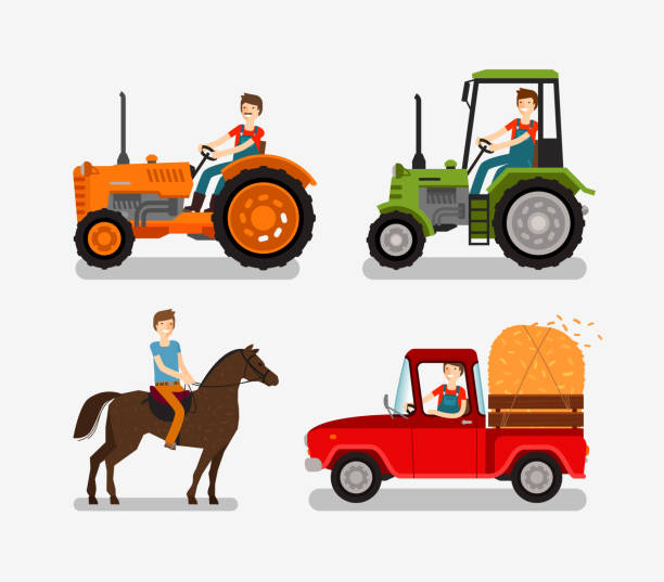 Farm icons set. Cartoon symbols such as tractor, truck, horse Farm icons set. Cartoon symbol such as tractor, truck, horse, farmer. Vector illustration rancher illustrations stock illustrations