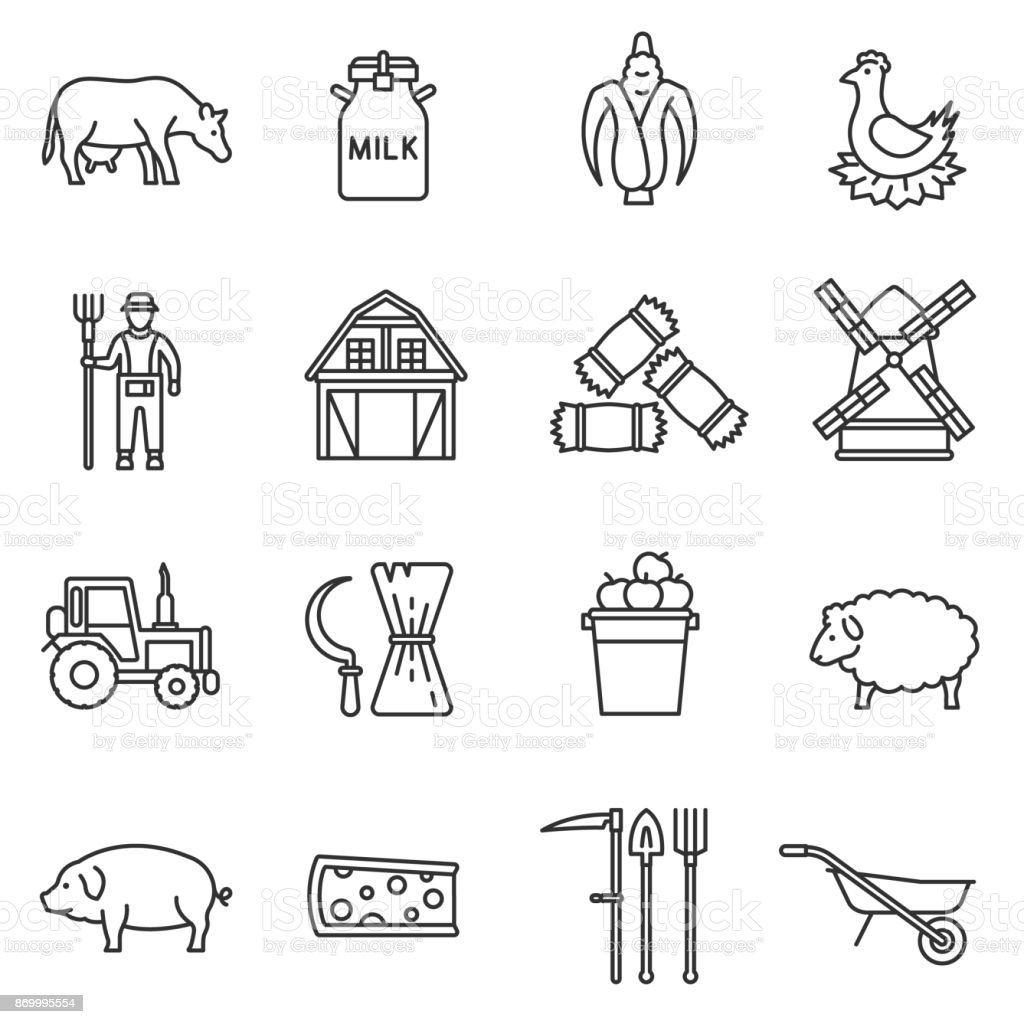 farm icons set. Editable stroke vector art illustration