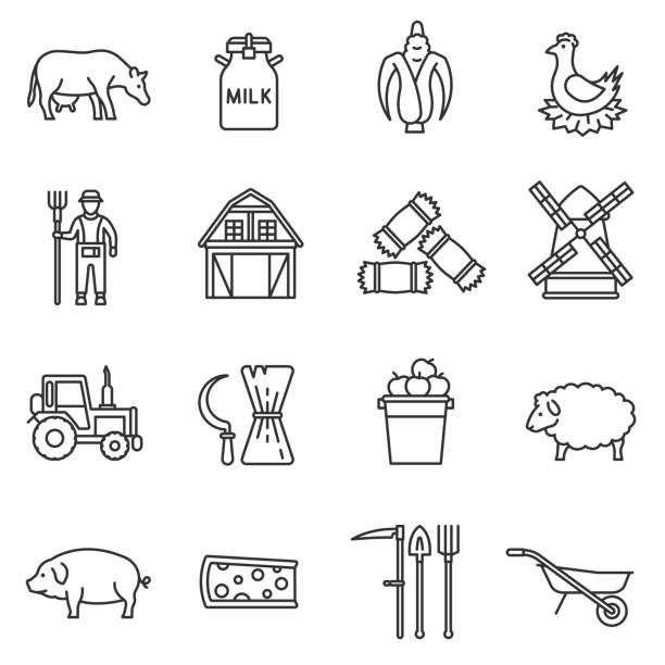 farm icons set. Editable stroke farm icons set. agriculture and livestock, thin line design. Farm food, linear symbols collection. Harvesting, isolated vector illustration. farmer stock illustrations