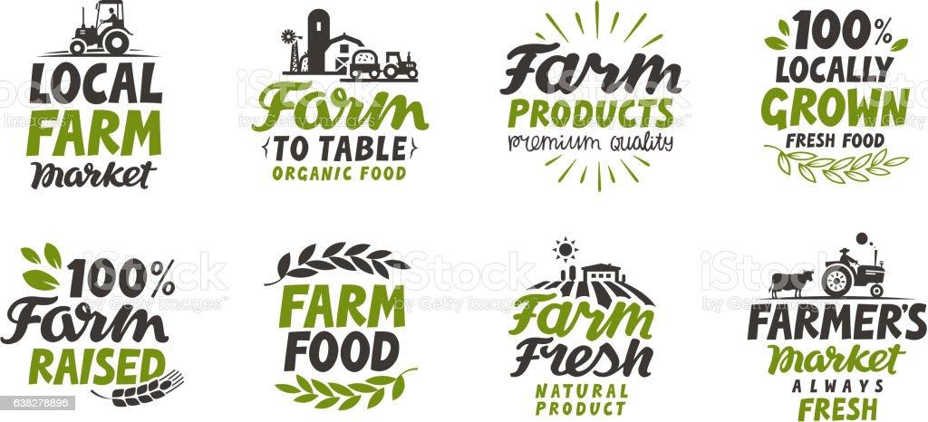 Farm icons set. natural, organic food. Symbol vector illustration - ilustração de arte em vetor
