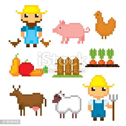 Farm Icons Set Pixel Art Old School Computer Graphic Style Stock ...