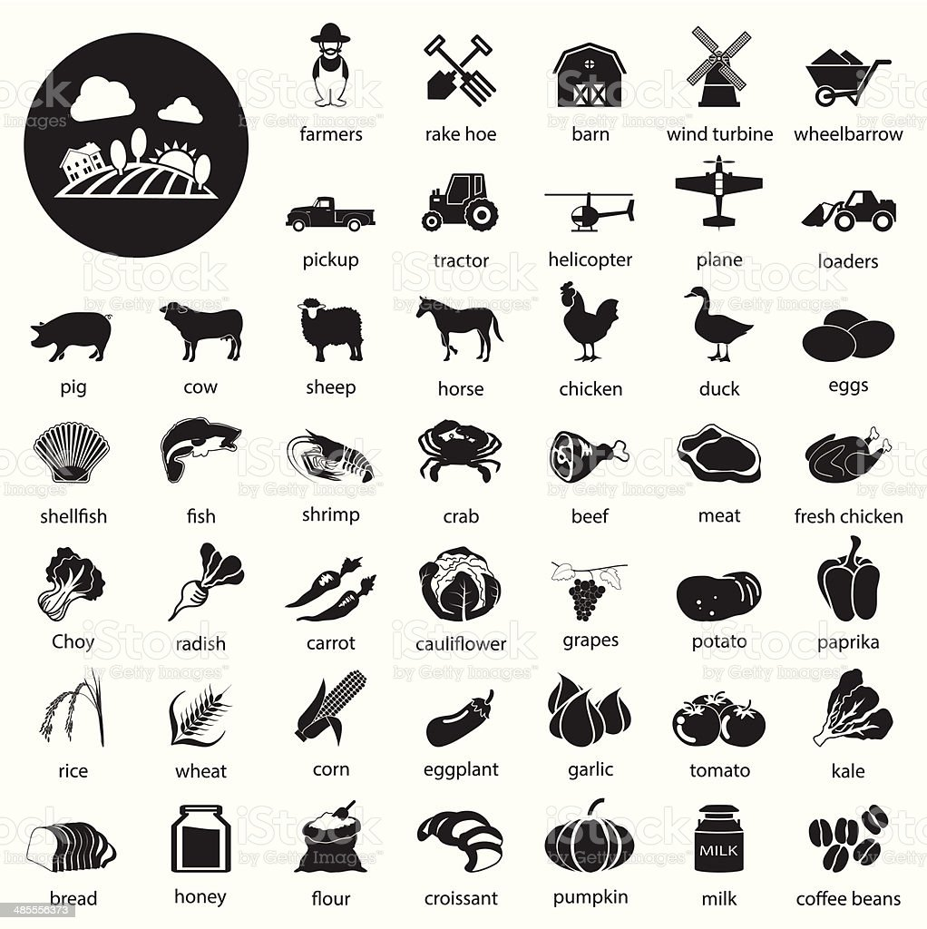 farm icons Set vector art illustration