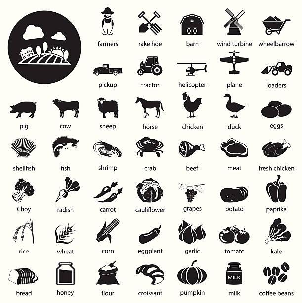 farm icons Set vector art illustration